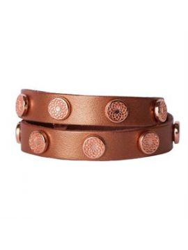 Rose Gold Leather Wrap with Rose Gold Studs