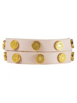 Blush Leather Wrap with Gold Studs
